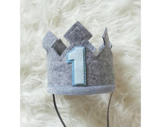 Grey First Birthday Felt Crown | Felt Crown | Birthday Boy Crown | Cake Smash | 1st Birthday | Photo Prop | Baby Birthday | Ready to Ship