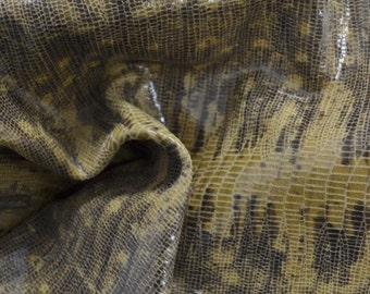"Tan Leather Cow Hide 8"" x 10"" Pre-cut 1 1/2 ounces Lizard embossed TA-24541 (Sec. 4,Shelf 3,D)"