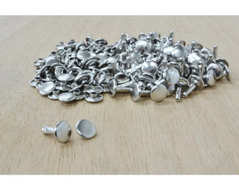 "Nickel LARGE Double Cap 5/16"" Rivets, Craft, Hardware, 100 Pack - 20010"