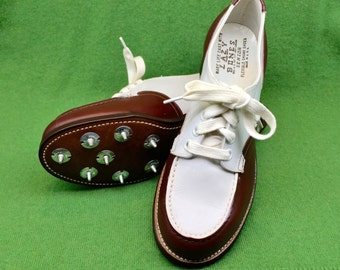 1950s Golf Shoes - Women's Vintage Lazy Bones Cleated Sporting Spectator Shoes in White and Brown Leather / Size 4 B *DEAD STOCK*