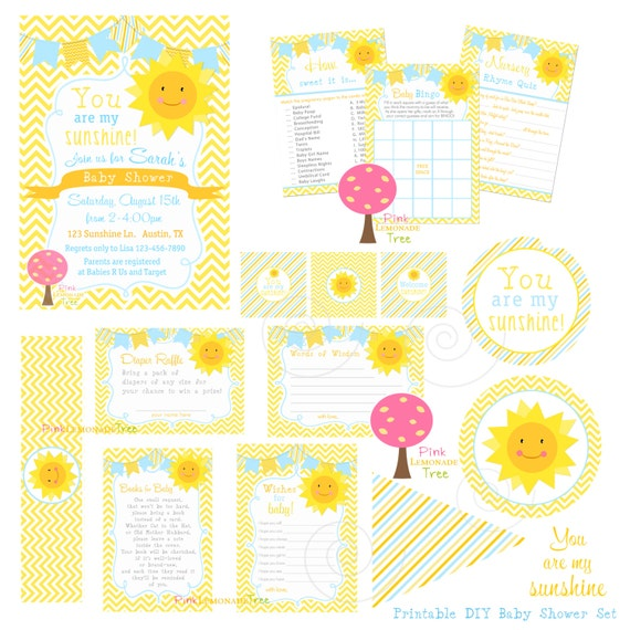 you are my sunshine baby shower set yellow and blue and orange