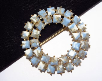 Blue Thermoset Brooch Square Thermoplastic Double Row Vintage 50s