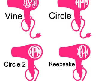 Hair Dryer Monogram Decal - Hair Dresser | Stylist
