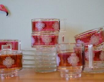 Vintage Retro Italian glassware coffee cups kitchenalia tea cups and saucers
