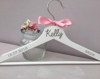 Personalised White & Glitter Wedding Dress Hangers - Bespoke For The Bride, Bridesmaids