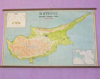 Cyprus Map, School Map, Cyprus Chart, Pull Down Chart, Large School Map, European Chart, Cyprus, Classroom Char, Hellas Map, Atlas Tapestry