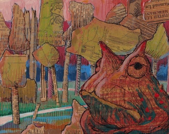 And Now What? -Mixed Media- pen and ink with acrylic paint  -1920's newspaper series - toad in forest