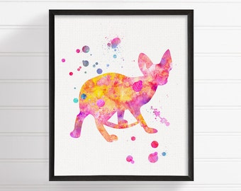 Hairless Cat Art, Cat Art Print, Devon Rex Print, Sphynx Print, Pink Cat, Cat Wall Decor, Cat Wall Art, Cat Silhouette, Watercolor Cat