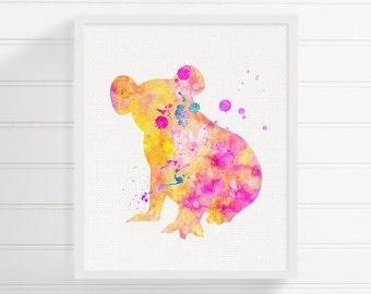 Koala Art Print, Watercolor Koala, Koala Painting, Koala Wall Art, Girls Room Decor, Nursery Art Print, Baby Girl Nursery,Australian Animals