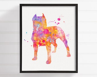 Colorful Pit Bull Painting, Pit Bull Art, Pit Bull Print, Pit Bull Wall Art, Pit Bull Watercolor, Dog Wall Art, Dog Lover Gift, Illustration
