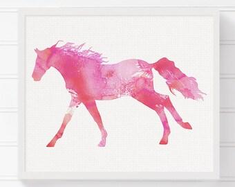 Watercolor Horse Painting, Horse Art Print, Horse Poster, Equestrian Girl Art, Girls Room Decor, Nursery Wall Decor, Girls Wall Art, Pink