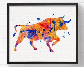 Bull Art, Bull Print, Watercolor Bull, Bull Painting, Bull Wall Art, Bull Wall Decor, Watercolor Animal, Modern Home Decor, Texas Wall Art