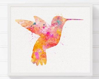 Watercolor Hummingbird - Hummingbird Art - Hummingbird Print - Nursery Art Print - Bird Print - Bird Art, Watercolor Bird, Bird Wall Decor