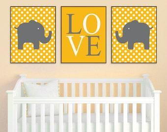 Yellow Gray Nursery - Elephant Nursery - Elephant Wall Art - Baby Boy Nursery - Baby Girl Nursery - Boy Wall Art, Girl Wall Art, Polka Dots