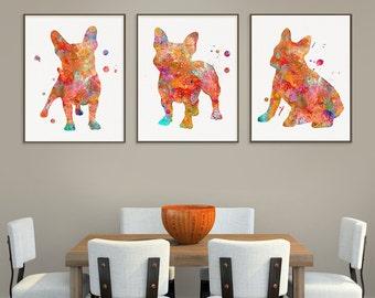 French Bulldog Watercolor Art Print, French Bulldog Painting, Set of 3 Prints, French Bulldog Wall Art, French Bulldog Wall Decor, Dog Lover