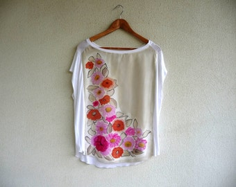 Floral silk blouse, Classic chic style, Hand painted blouse, Short Sleeves blouse, Unique silk blouse, One of a kind, Unique handpainted top
