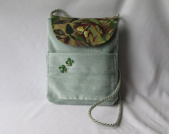 Shoulder Bag - Moss Green - Tapestry Flap - Vintage Jewelry - Gift for Her