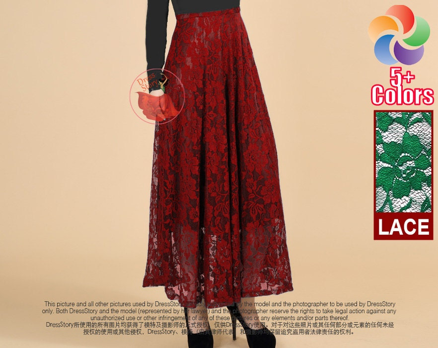 Maroon Lace Maxi Skirt Floral Lace Maxi Skirt Long Lace