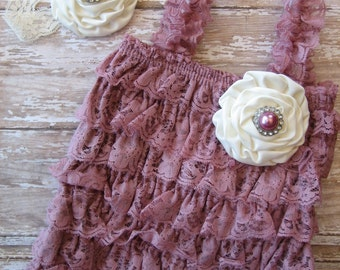 Mauve romper, mauve jumper, dusty rose romper, mauve and ivory, dusty rose and ivory, lace petti romper, Ivory and mauve, lace romper