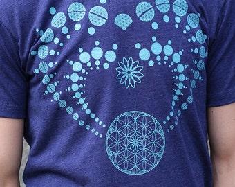 Sacred Geometry - HEART CHAKRA Men's screen printed Shirt- flower of life - crop circle