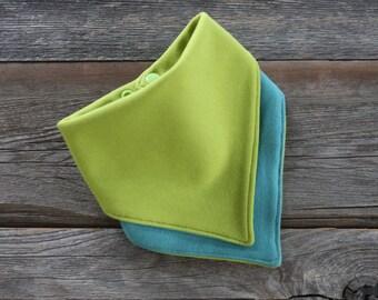 3 in your color choice bandana bibs, organic cotton knit dribble bib, reversible organic bandana bib, drool bib, inspiring dreams