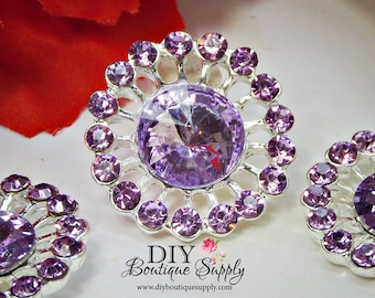 Lavender Crystal buttons Rhinestone Buttons Violet Embellishment flatback Baby Headband Supplies Hair Bow flower Flower centers 24mm 926040