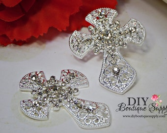 2 Pcs   Silver Rhinestone Crystal Cross Component FLATBACK - Wedding Brooch Rhinestone Brooch Bouquet - Cake Brooch Sash Pin 42mm 933220