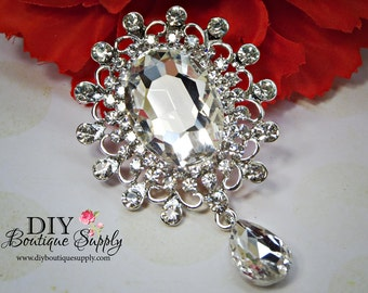 Big Rhinestone Wedding Brooch with Dangle - Crystal Brooch Pin - Dangle Brooch Wedding Bridal Accessories Sash Pin Cake brooch 75mm 956198