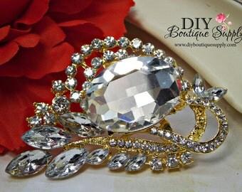 Delicate Gold Wedding Brooch Rhinestone Brooch - Wedding Cake brooch - Crystal Brooch Bouquet Supply - Bridal Brooch Sash Pin 70mm 949198