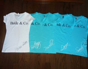 Bachelorette Party Shirts Bride & Co bridal wedding party Inspired Custom bride maid matron of honor bridesmaid Vneck