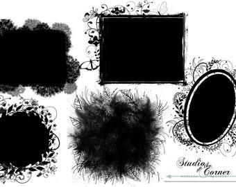 Five Digital Photo Masks, Digital Clipping Masks, Leafy Photo Masks, Leafy Clipping Masks, Photoshop Clipping Masks