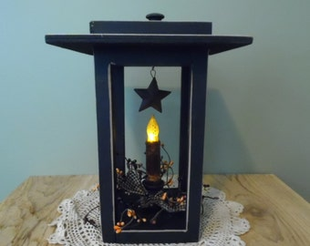 Primitive Decor, Country Lantern w/candle, Real Wood Lantern, Country Decor, Timer Candle Upgrade, Shooting Star, Handmade, Made in the USA