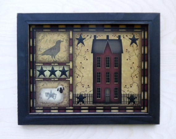 Saltbox Primitive Primitive Home Decor Framed Print