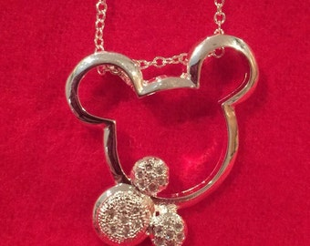 Sterling Silver Mickey Inspired Pendant and Chain