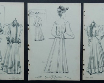 Edwardian Fashions 1904 - 1906 ~ Three Pages of Five Antique Women Fashion Prints