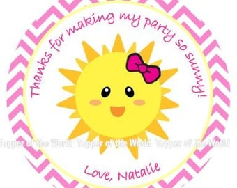 12 You are my sunshine sun chevron Birthday Party Favor Thank You Tags or Stickers You Choose