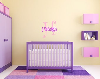 Name and Initial Baby Girl Nursery Wall Decal