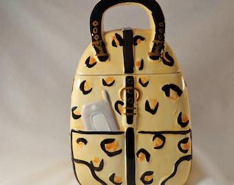 COOKIE JAR ~  Purse Spotted Yellow Black, MSRF, Inc