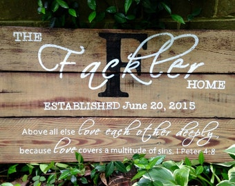 Wood Sign, Distressed Reclaimed Wood Sign, Name/Established with Scripture Medium
