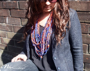 Handmade Necklace in blue and orange fabric and beads