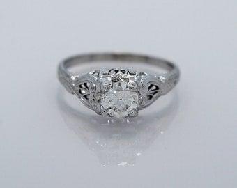 Art Deco Engagement Ring 18K White Gold .52ct. Diamond - J34940