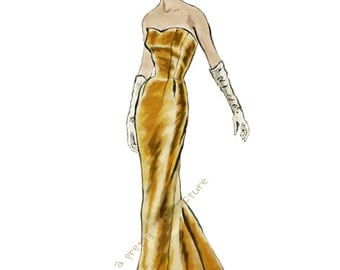 Vintage Lady in Gold Gown Digitally Painted Art on White Background Photo Paper 8 x 10 Print Elegant Retro Vogue Art #812