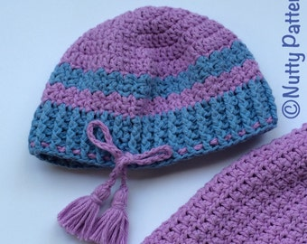 Crochet Patterns * Chloe Hat with Tassels * PDF Instant Download pattern # 489 * Baby, Toddler, Child, Teen, Adult sizes * easy