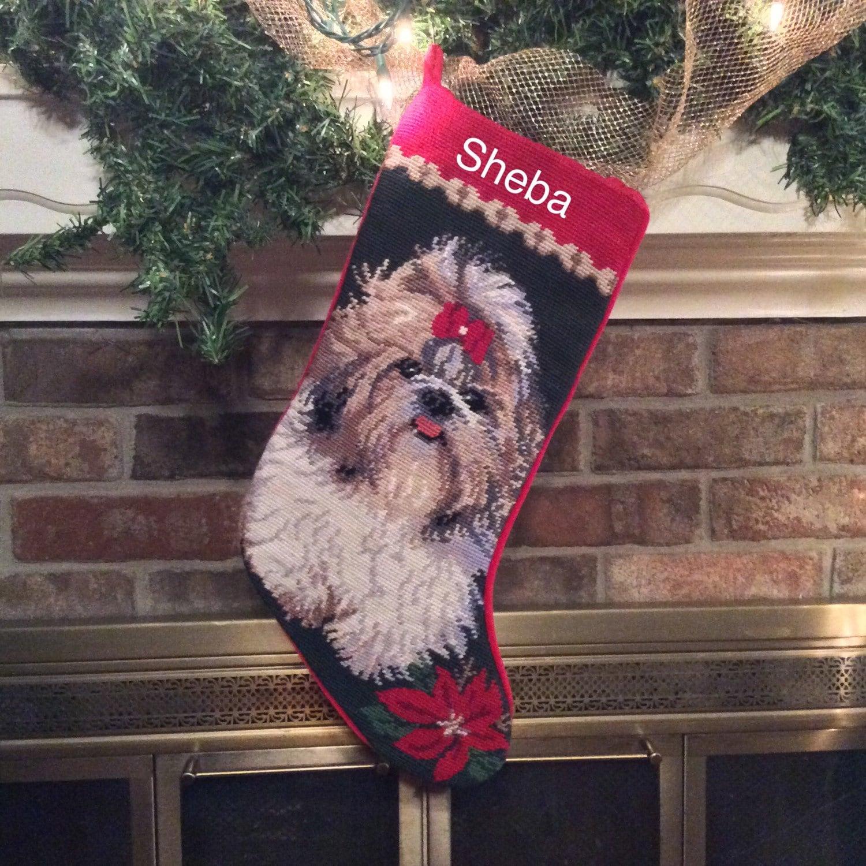 Shih tzu dog stocking personalized christmas stockings dog for Personalized dog christmas stocking