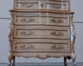 Bedroom set Dresser French Provincial Thomasville Highboy Nightstands Country French Vintage Mid Century Shabby Rococo Regency Cottage King