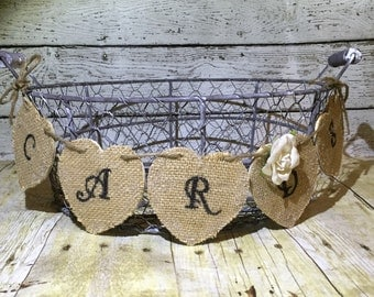 Rustic Card Basket, Country Card Basket, Burlap Card Basket, Card Basket