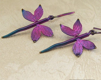 dragonfly purple titanium dangle earrings light durable modern minimalistic hypoallergenic