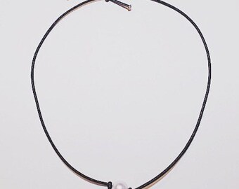 16 in. seaside pearl necklace on black cord (10 mm.)