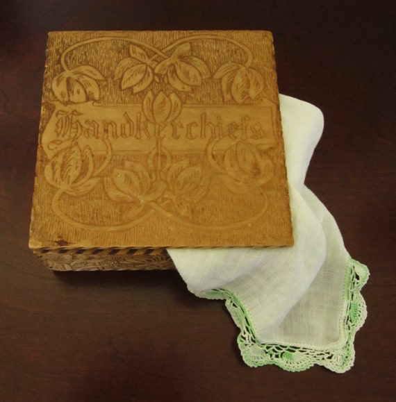 Antique Wood Tooled Handkerchiefs Box 1900 S Made By
