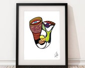 Wall Art Print, Unique abstract face, print of original ink drawing by Danish artist May-Bell Bareket. Beautiful and colorful art print !